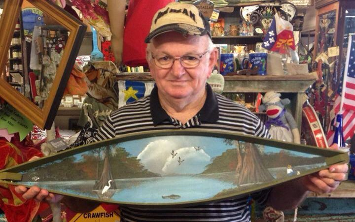 25% off all Mr. Rex Boudreaux's handmade, handpainted pirogues and art!