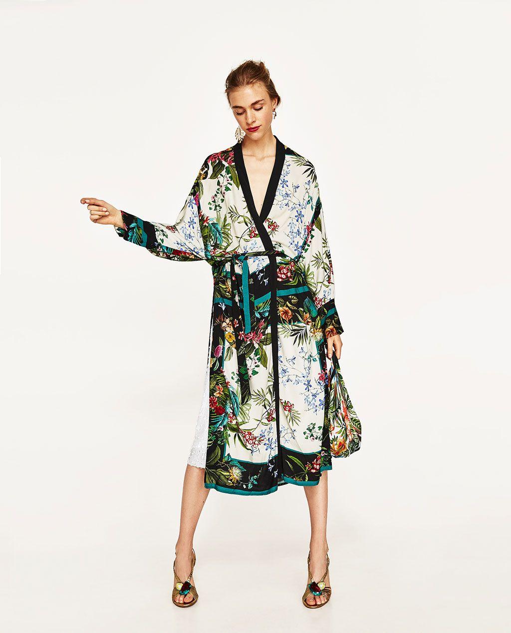 5d2906cdcbd6 ZARA - FEMME - KIMONO LONG IMPRIMÉ Blouse Dress, Women's Kimono Cardigan,  Zara Women
