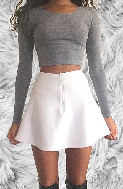 309a10b4f404d crop tops + skater skirts  aliceandolivia