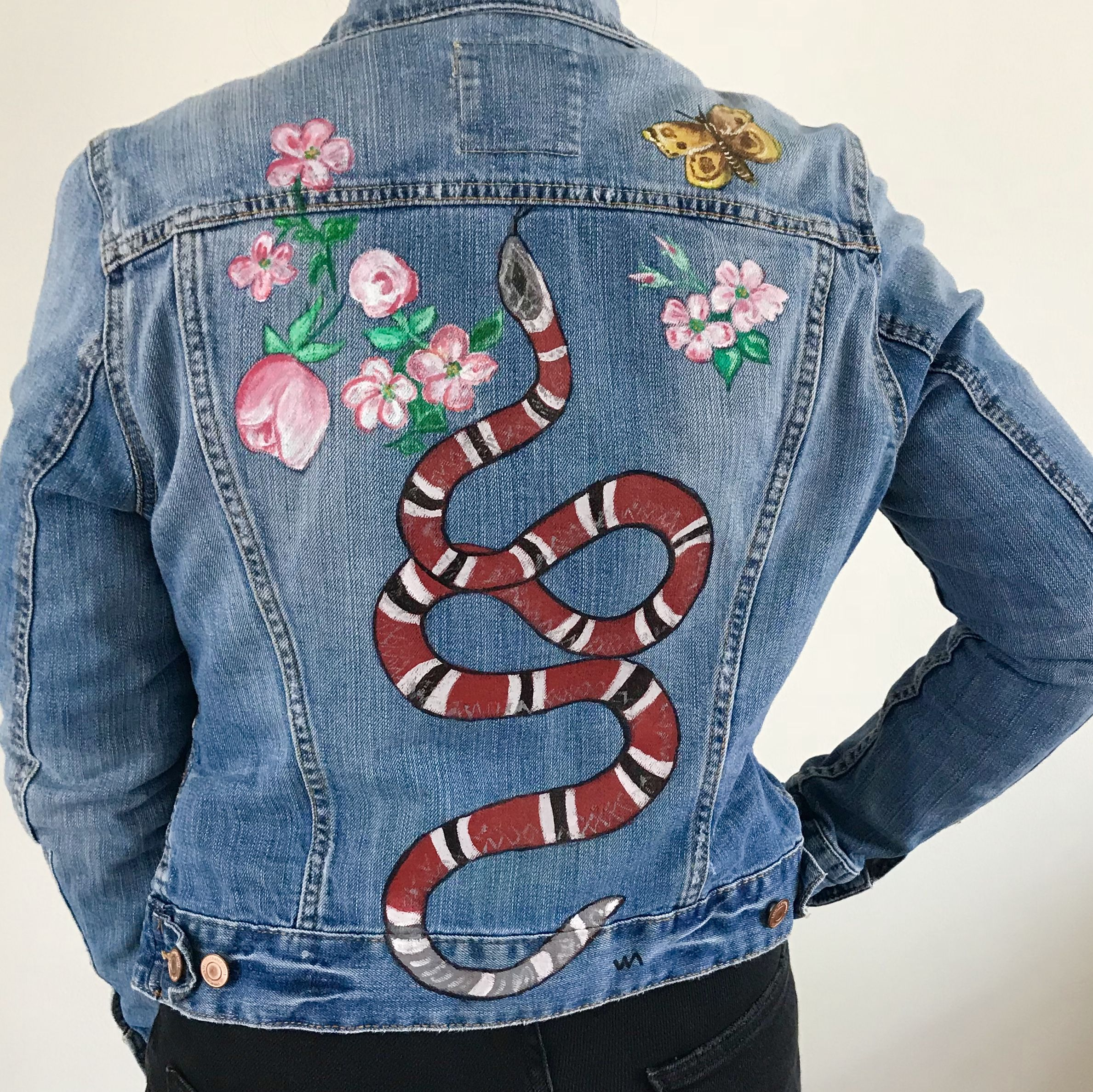 b0799b3839181 Gucci inspired GG hand painted jacket snake denim flowers nature ...