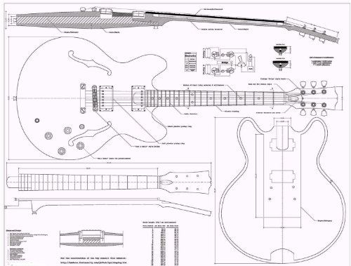 Gibson Es335 Jazz Guitar Plans Full Scale How To Build By Full Scale Plans To Build Guitar 13 95 Gibs Guitar Building Jazz Guitar Electric Guitar Design