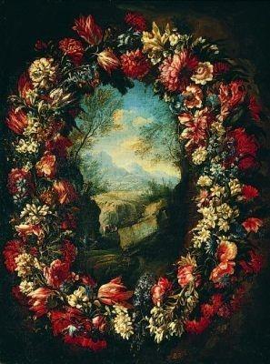 Cvjetni Vijenac S Krajolikom Abraham Brueghel Painting Flower Wreath Flower Garlands