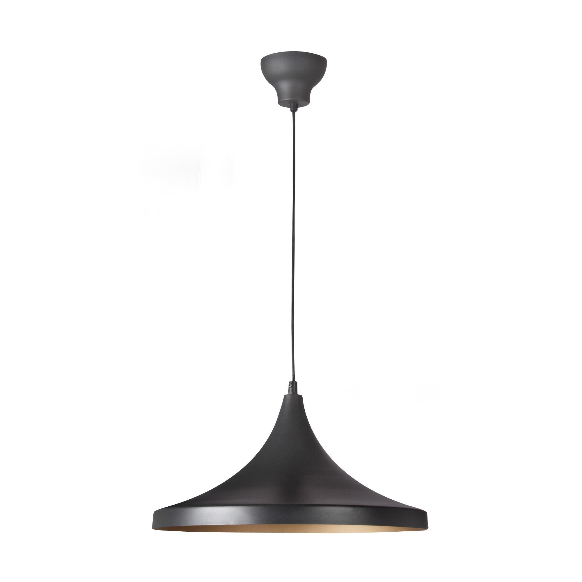 Suspension bicolore noir or d36cm noir or golden les for Luminaire noir suspension