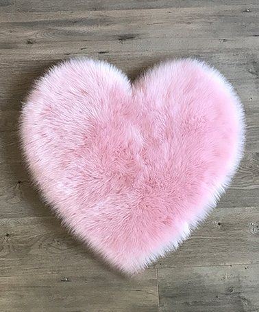 Kroma Carpets Light Pink Heart Faux Fur Rug