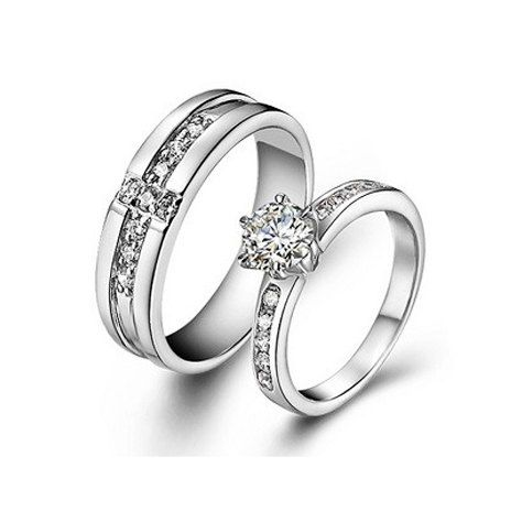 Personalized Silver CZ Diamond Couples Wedding by onlyuniquegifts
