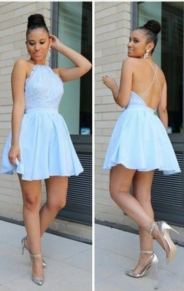 Cheap backless homecoming dresses, sky blue fashion gowns.