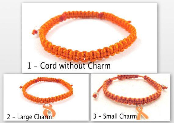 Orange Awareness Bracelet Macrame Custom by EledesignbyLauren, $6.00
