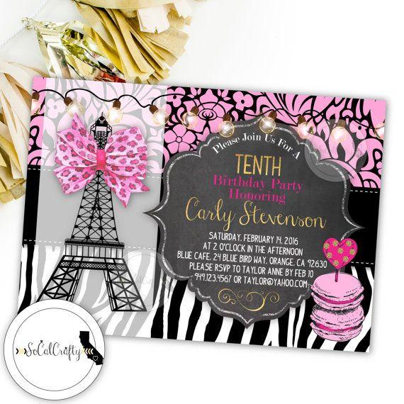 Paris Birthday Party Invitation Parisian Eiffel Tower Chalkboard
