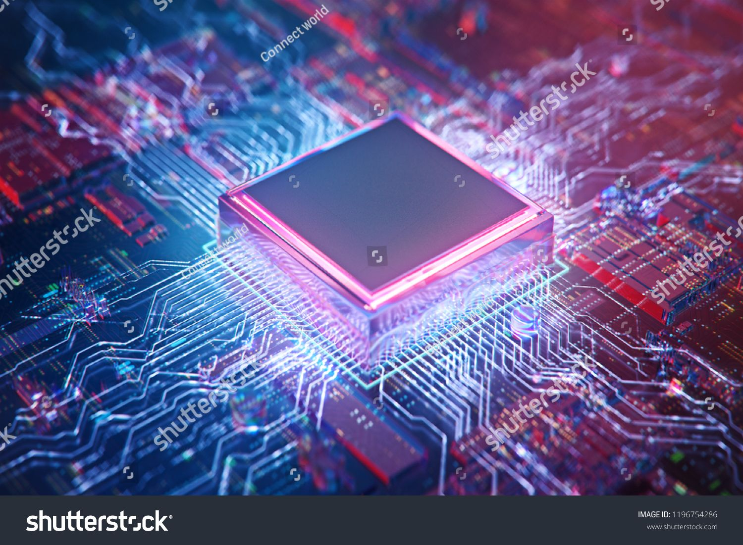 AI. Circuit board. Technology background. Central Computer