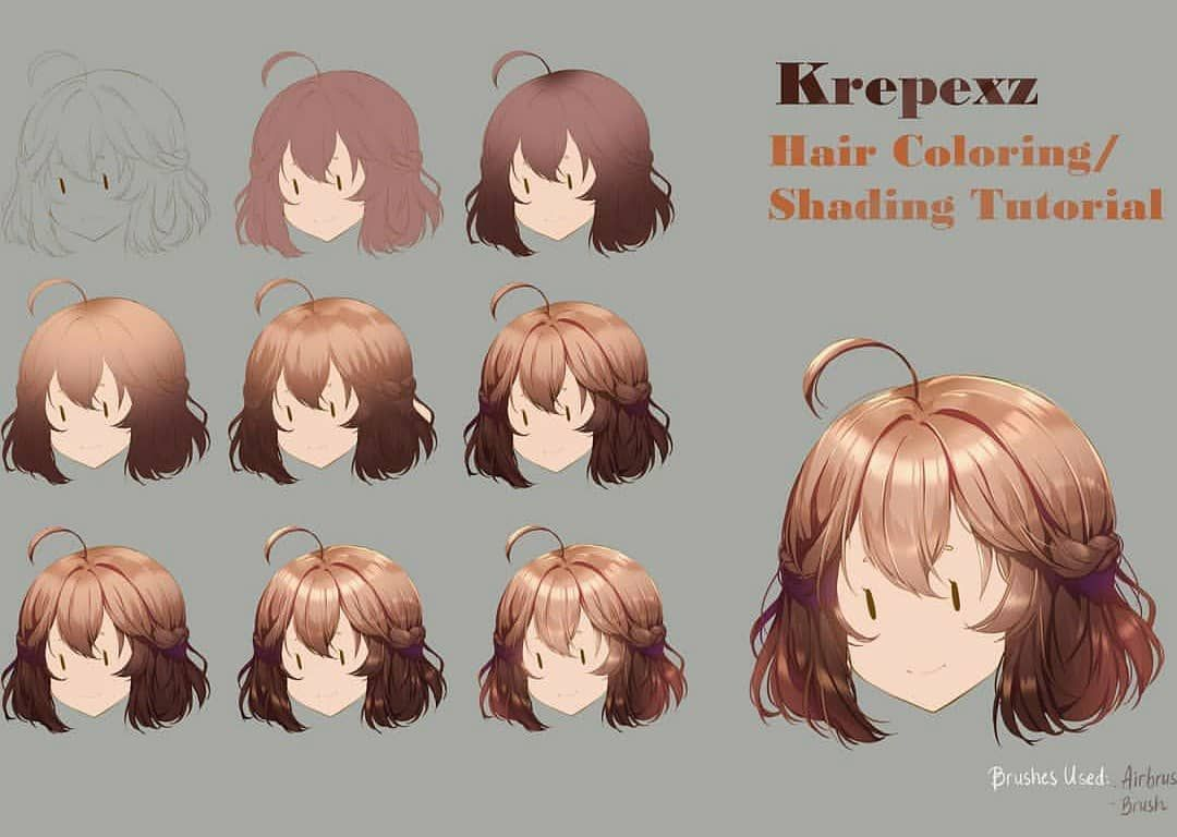 Tutorial On How I Color Hair It S Very Stylized But Easy To Do Note Only Works For Straight Digital Art Tutorial Digital Painting Tutorials Anime Tutorial