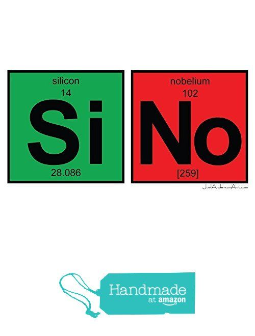 Si No Art Tile Print Of Periodic Table Elements Handmade
