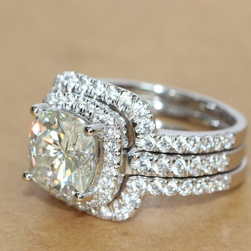 Ring 4cttw 3ct Center Cushion Cut Nscd Simulated Diamond Engagement