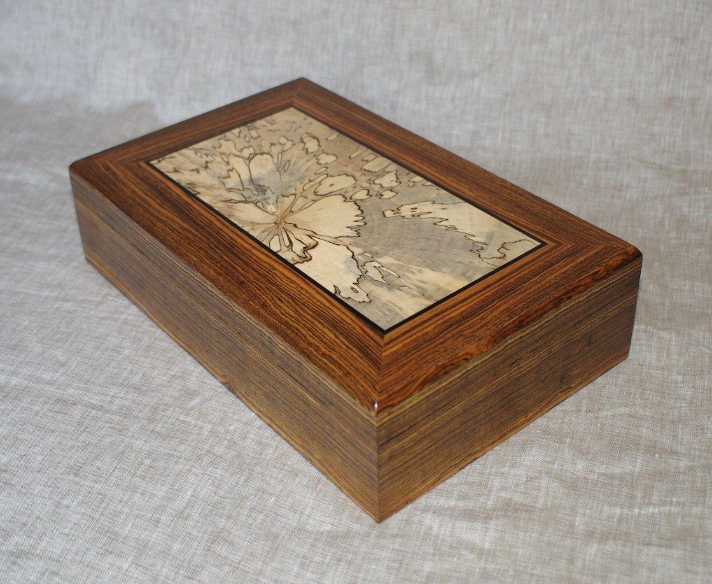 Handmade Wooden Keepsake Box Jewelry Valet Watch Solid Bocote