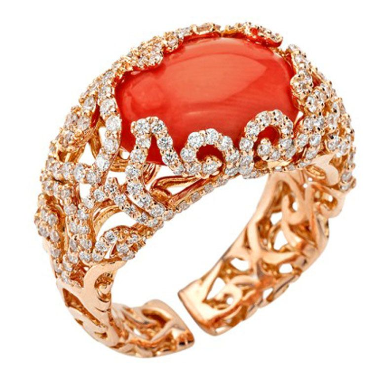Chantecler of Capri Red Coral and Diamond Ring For Sale at 1stdibs