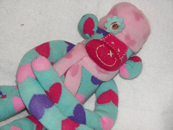 Sock Monkey Doll Plush Toy in teal with by AsYouWishCreations4u, $32.00