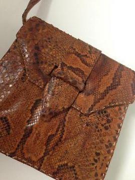Damestasje 'vintage van bruin slangenleer'