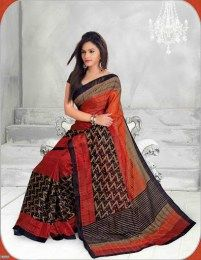 Rust Color Amazingly Printed Traditional Saree Of Bhagalpuri Silk Fabric