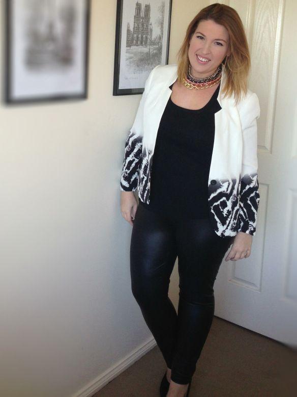 iCurvy | plus size outfit | white ombré zebra print blazer ...