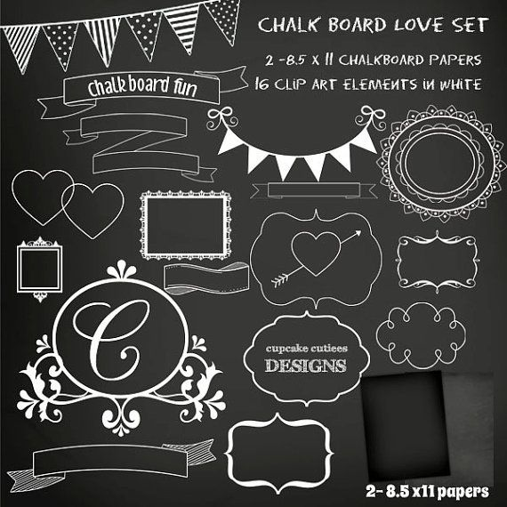 Chalkboard Set Digital Clipart Elements And Papers Commercial Use For Paper Invites Instant Download Chalkboard Art Blackboard Art Chalkboard Designs