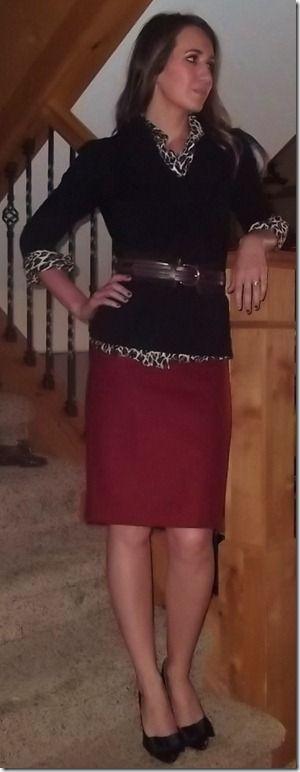 work attire | red pencil skirt, leopard print top, belted black sweater {sequins & stilettos}