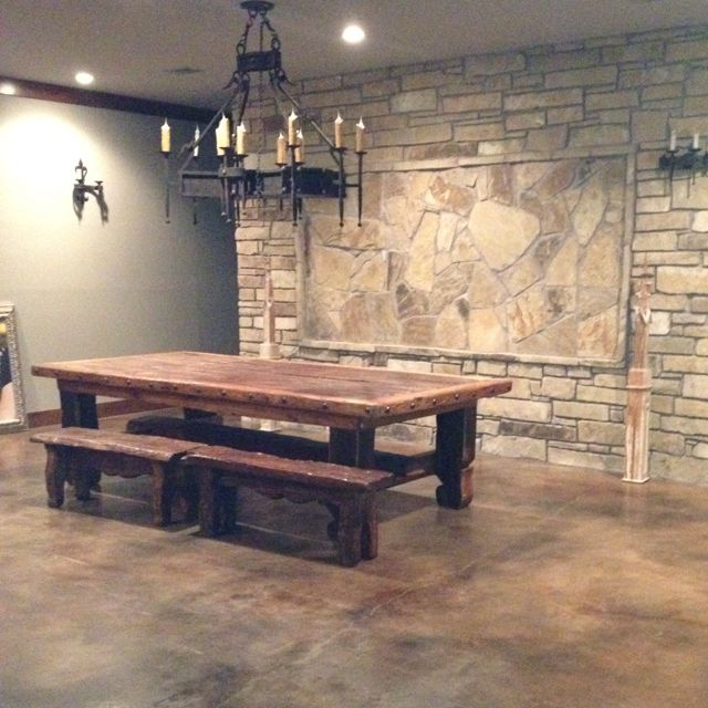 Rustic Reclaimed Wood Table & Ashore Chandelier