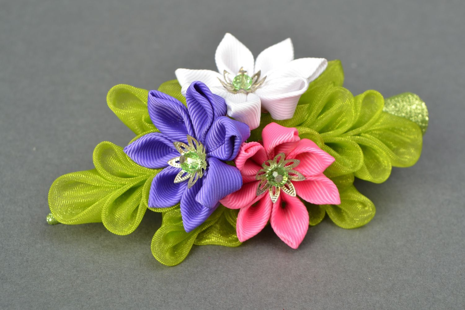 Large kanzashi flower hair clip by YourHairStyle on Etsy
