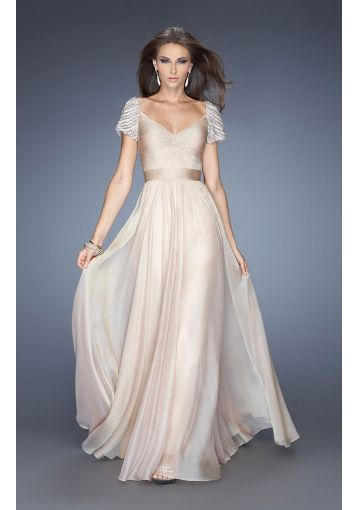 2014 A-line Cap Sleeves With Beaded Criss Cross Front Chiffon Long ...