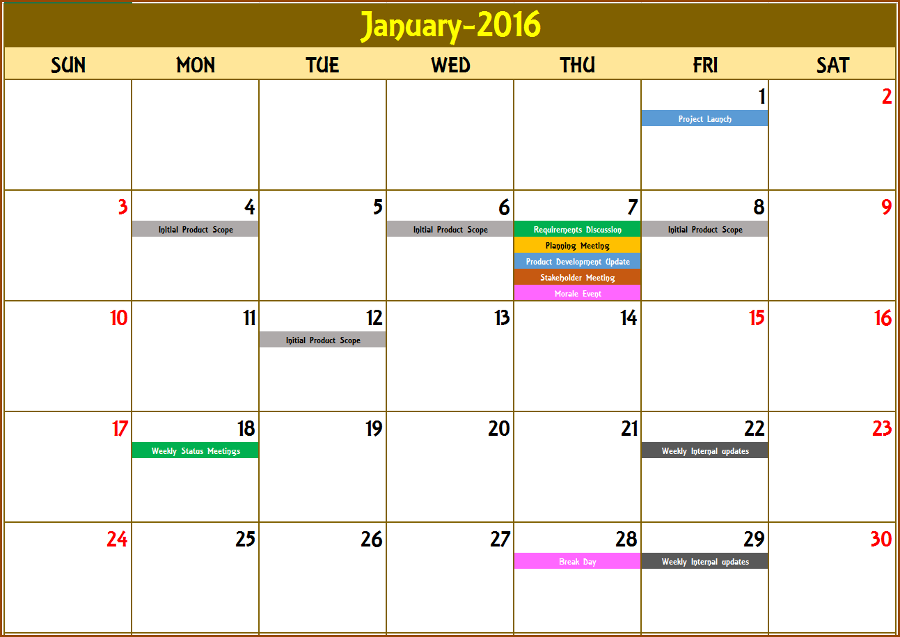 2016 Monthly Calendar Event Calendar Maker Excel Template Event