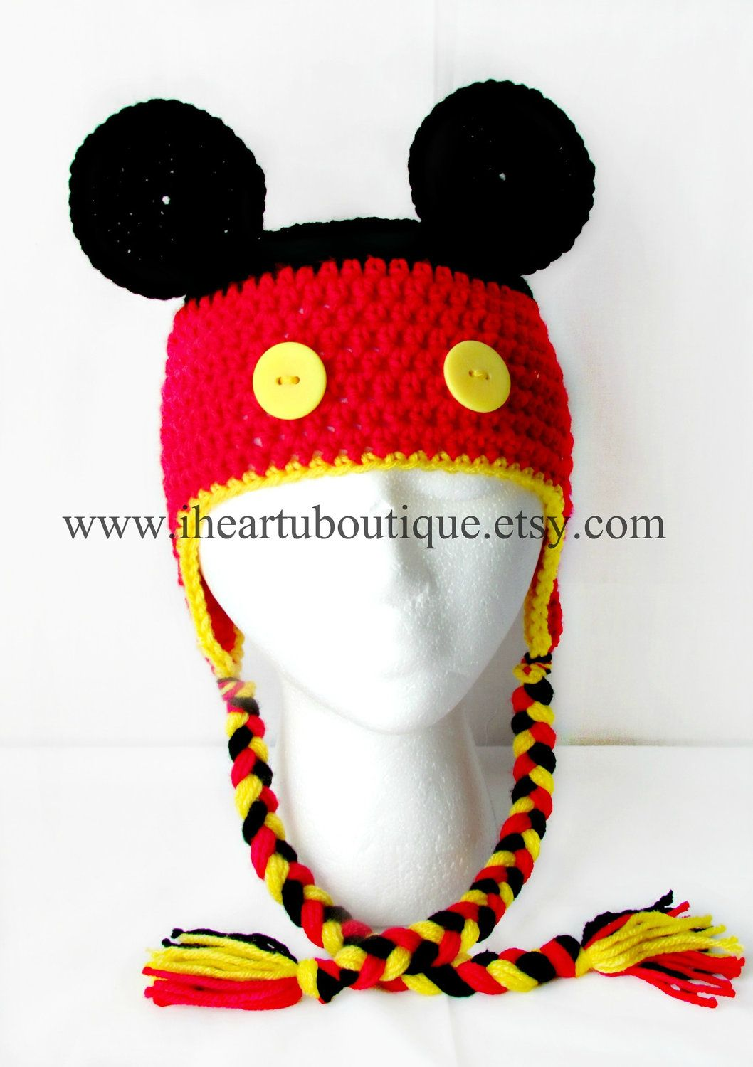 Mickey Mouse Inspired Crochet Hat. | Jorgito | Pinterest | Gorros ...