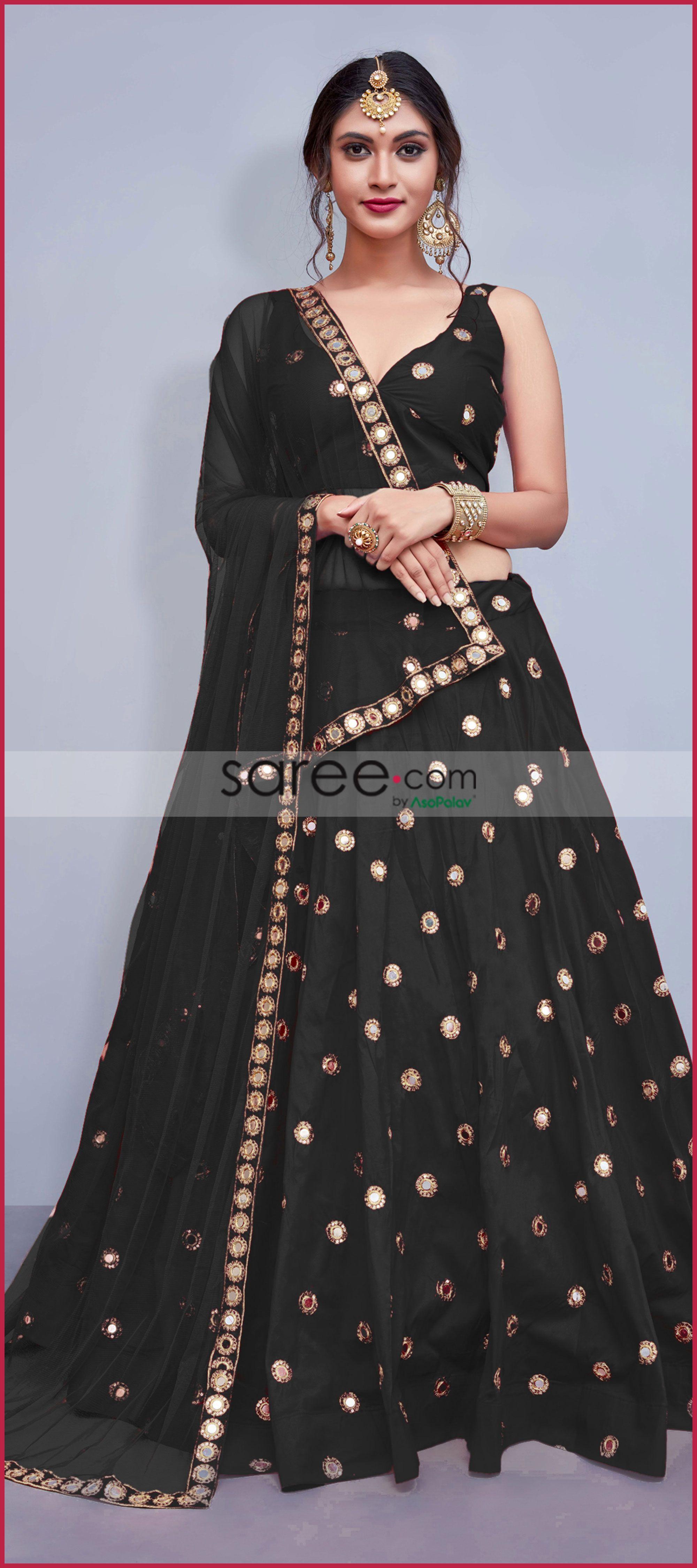3d996c8db8 Black Taffeta Silk Designer Lehenga Choli With Mirror Work ...