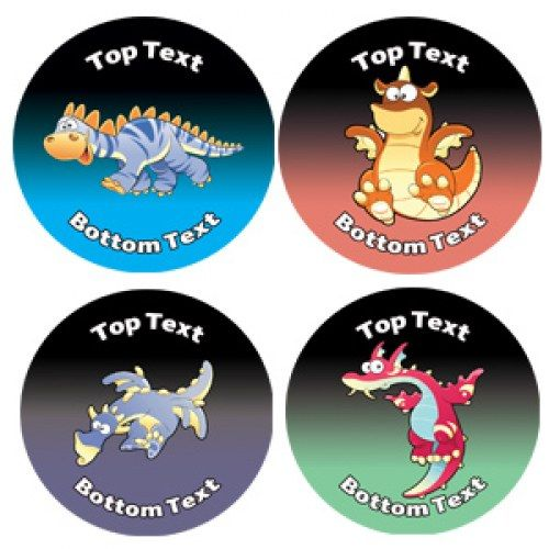 Personalised stickers for kids dinosaur dragons designs to customise for teachers