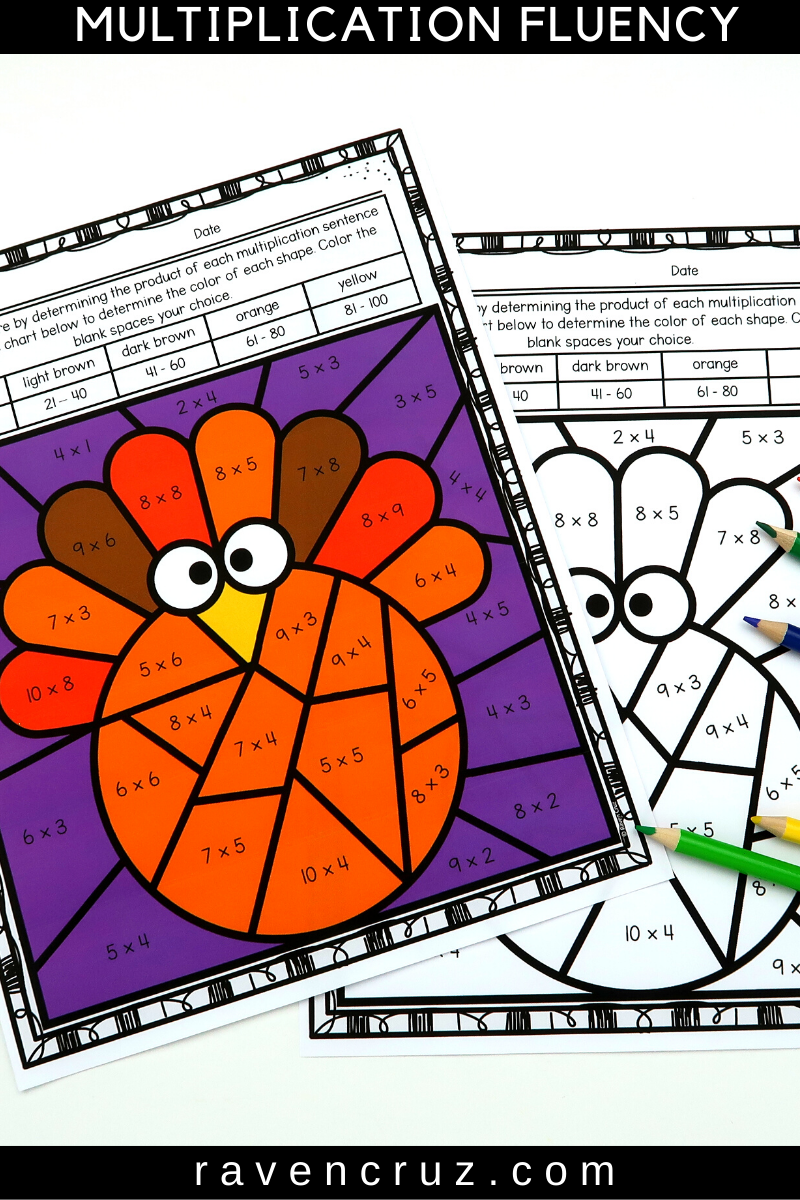 Thanksgiving Multiplication Color by Number Worksheets   Thanksgiving math [ 1200 x 800 Pixel ]