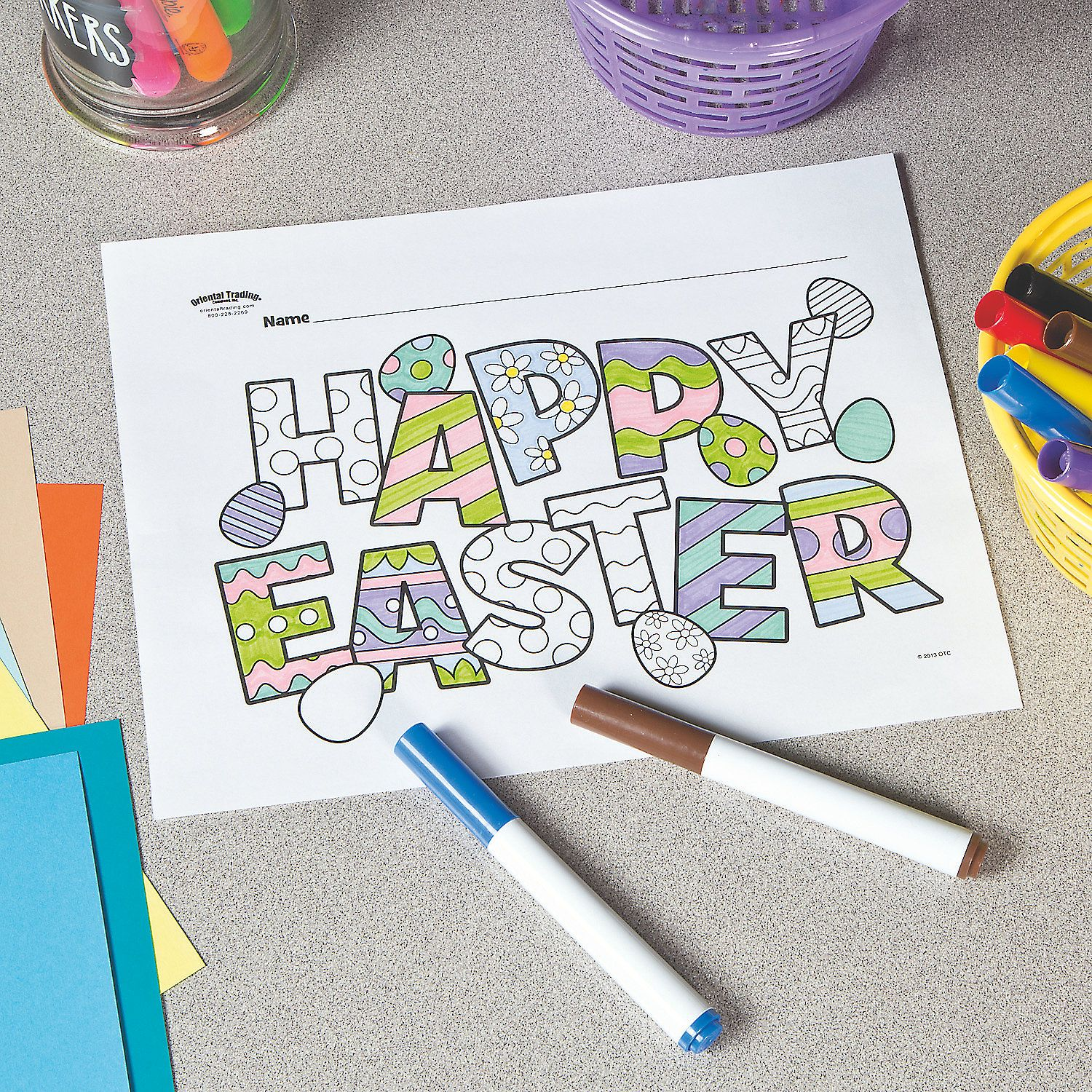 Happy Easter Free Printable Coloring Page Orientaltrading Com Easter Printables Free Easter Coloring Pages Easter Activities For Kids
