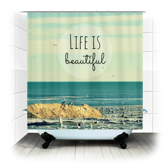 Fabric Shower Curtain Life Is Beautiful Original Photography By Rdelean Designs Beach Ocean Sea Seagulls