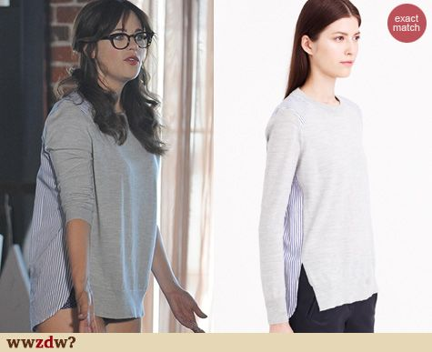 5301d29498 Zooey Deschanel s Grey sweater with striped back on New Girl. Outfit  Details  http