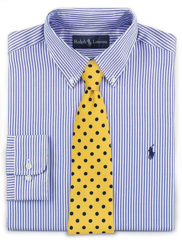 Polka Dot Tie In Yellow Striped Blue And White Shirt