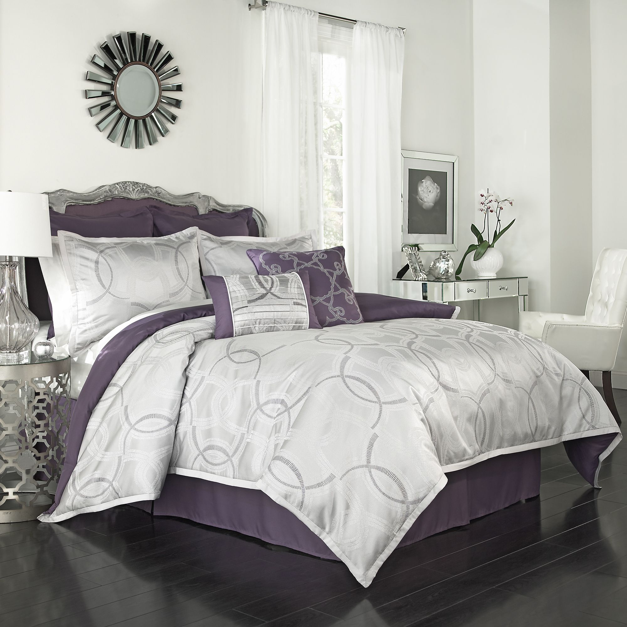 Casino 8 Piece Comforter Set Grey Products And Purple
