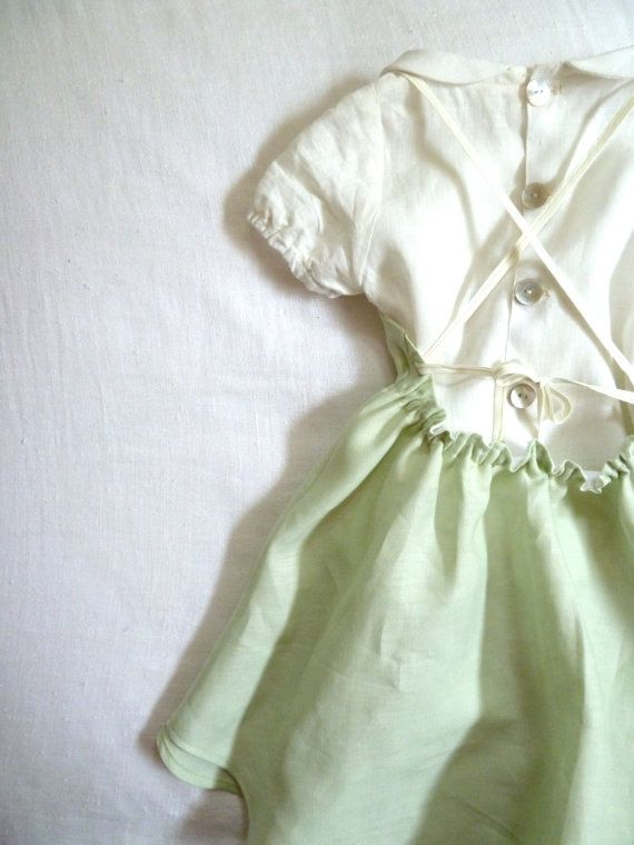 layered for spring: linen peter pan collar blouse under linen crossback strap dress by harriet & daughters on etsy