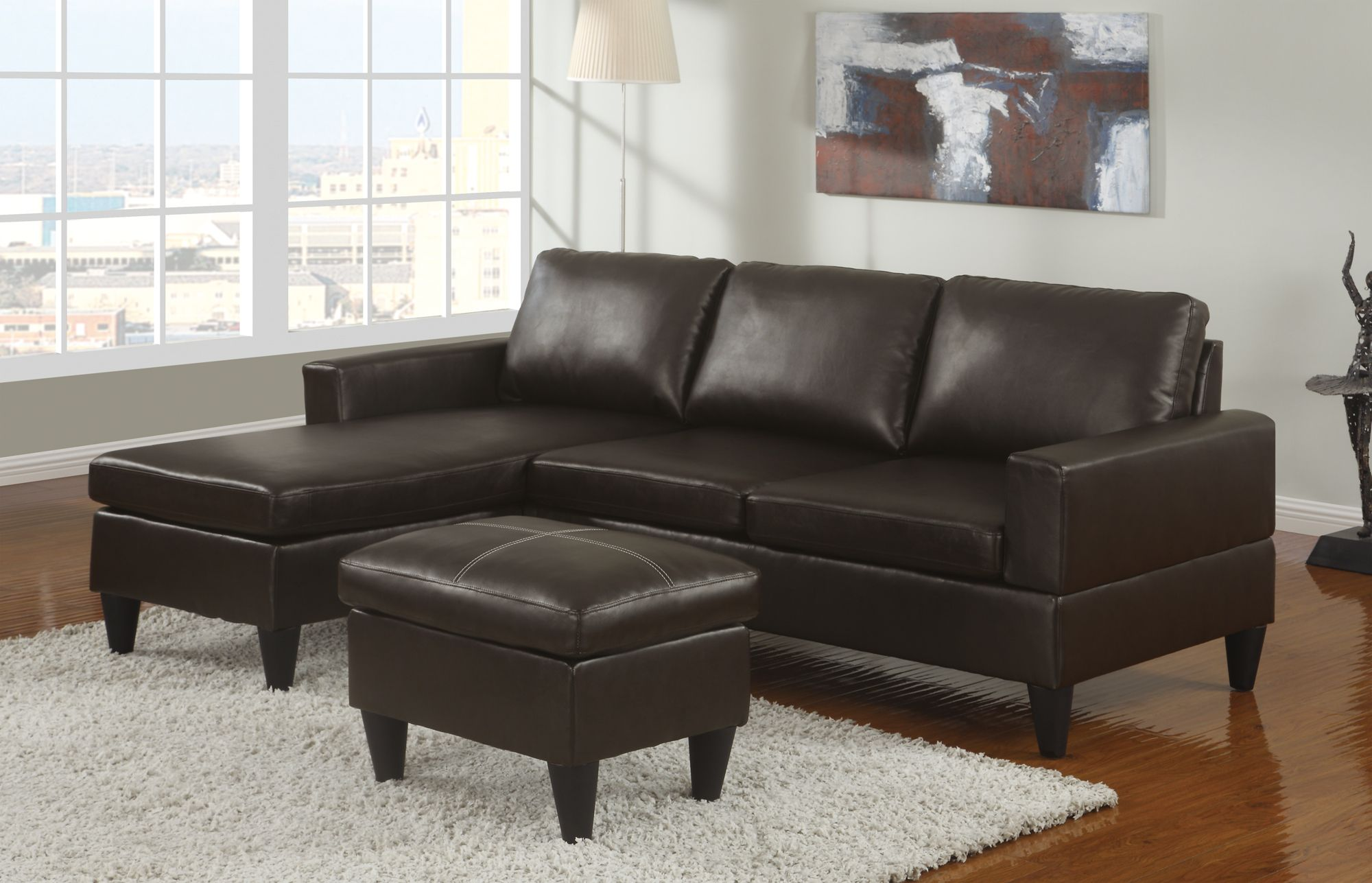 Sausalito Espresso Leather Small Sectional Sofa Set by Urban Cali