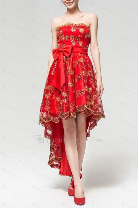Satin Strapless Short A-line Evening Dress with Bow - Focus Vogue
