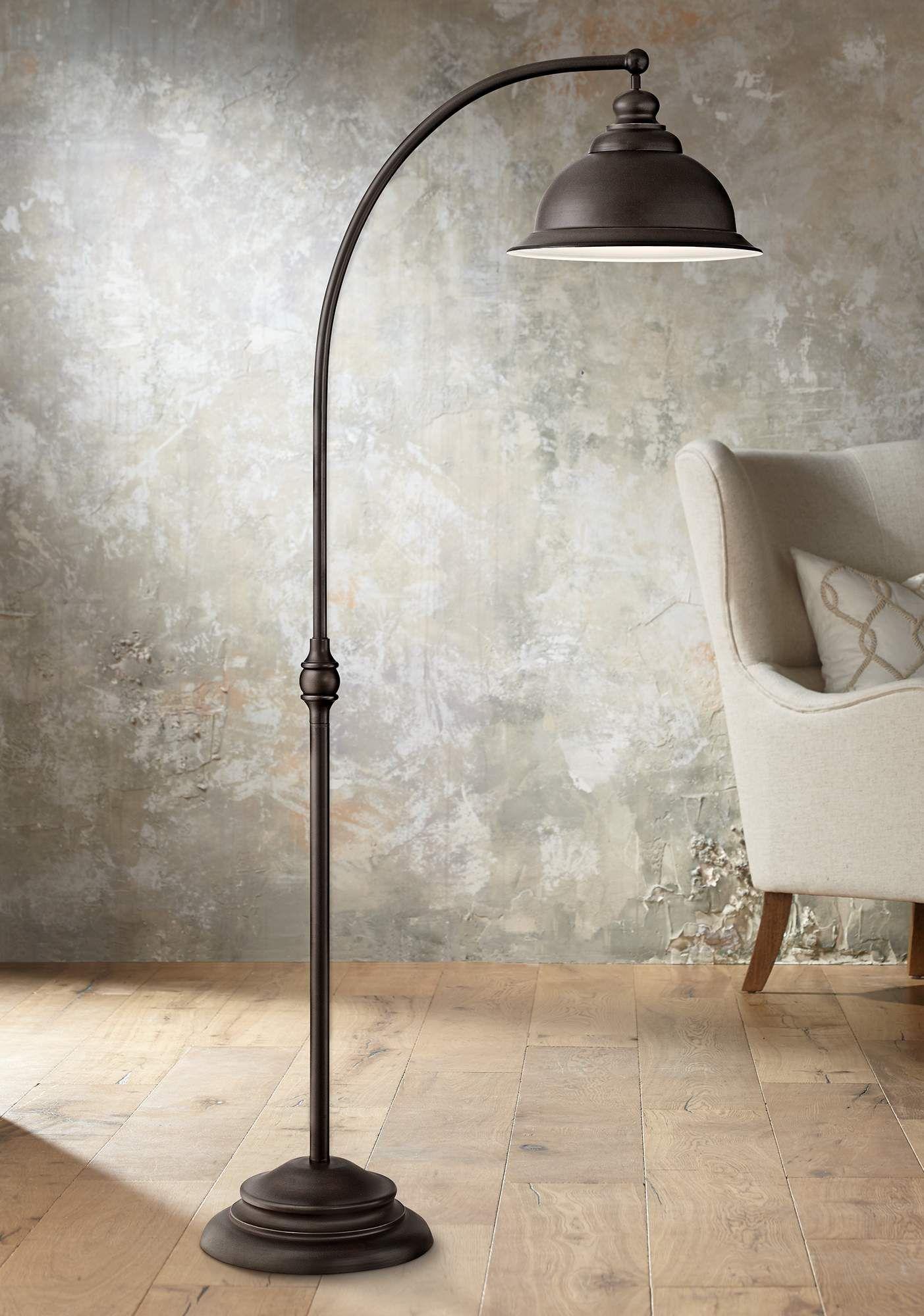 Wyatt Ii Dark Bronze Arc Floor Lamp Wohnzimmer