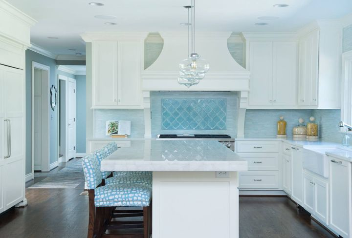 16+ White kitchen with blue accents info