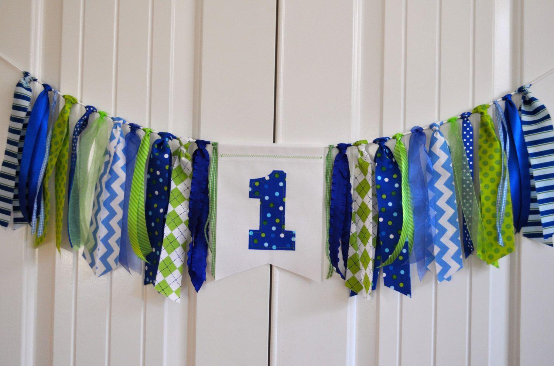 Fabric One Highchair Rag Banner Boys Blue Green First