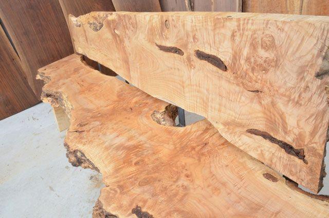 Making Slab Bench | Foot Custom Rustic Bench Burl Maple Slab With Steel Back  Slats