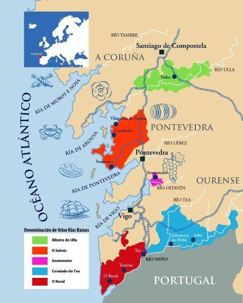 Mapa De Rias Bajas.Quereis Mas Informacion Sobre Las Distintas Subzonas Que Componen La D O Rias Baixas Echadle Un Vistazo Al Mapa De Rias Baixas Wi Vino Vino De Espana Vinos