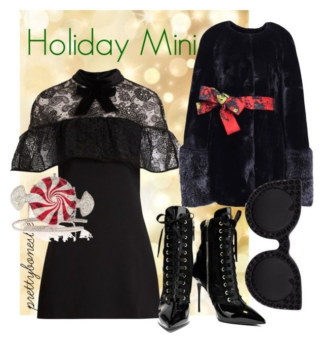 """""""Holiday Mini"""" by prettyboneslee ❤ liked on Polyvore featuring self-portrait, Giuseppe Zanotti, Ardent & Co, Delalle and Judith Leiber"""