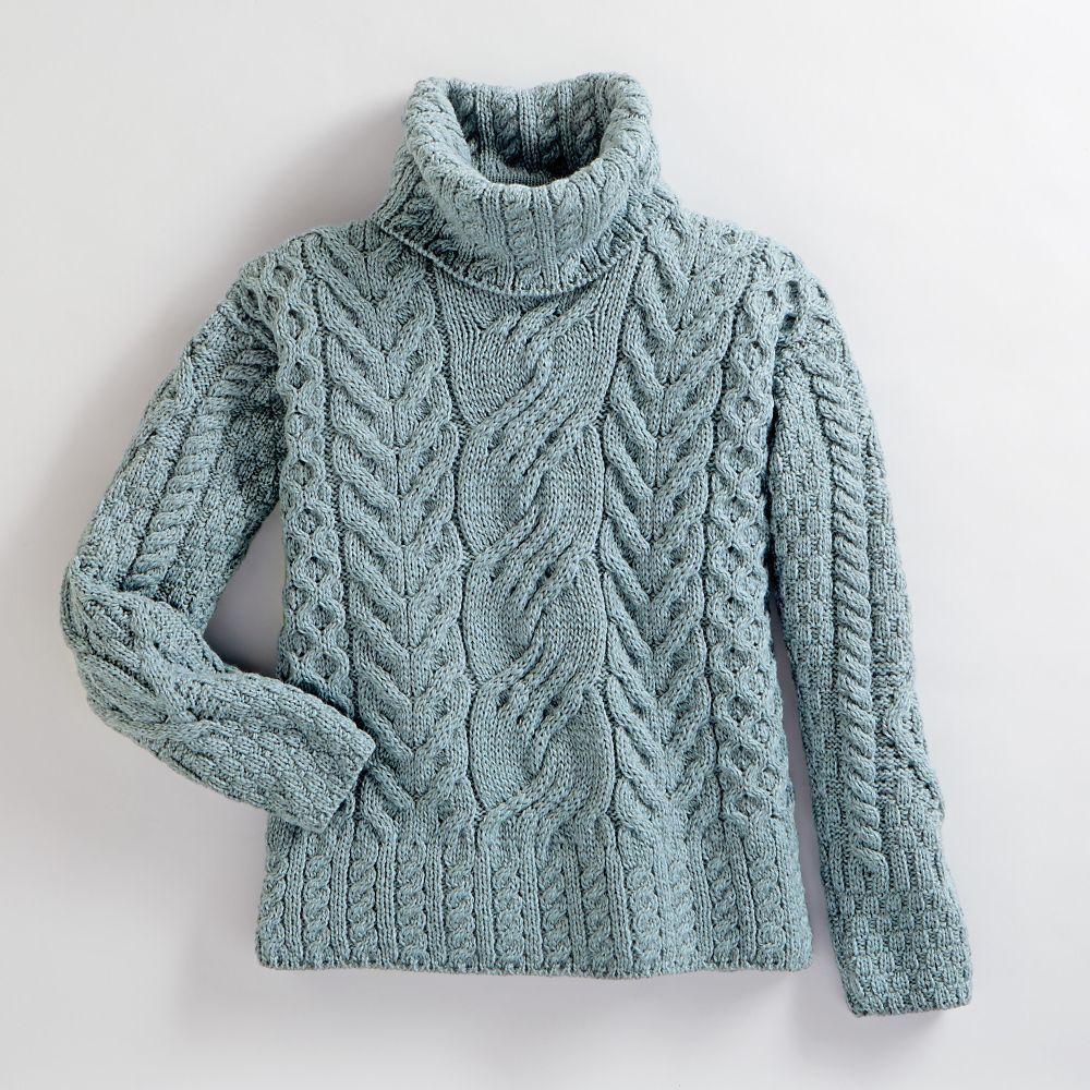 Women\'s Irish Aran Turtleneck Sweater | Patrones | Pinterest | Dos ...