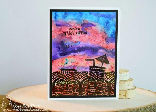 Summer Tiki card by Jess Gerstner | Tiki Time stamp set by Newton's Nook Deisgns