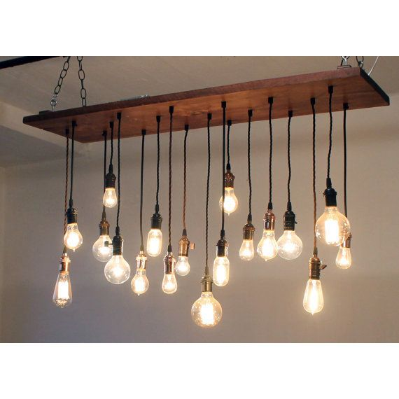 Rustic Reclaimed Wood Edison Bulb Industrial Chandelier Lights: Reclaimed Barn Wood Chandelier With Varying Edison ($1050