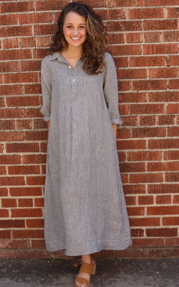673e53de52 Rumer Dress – River Rock Stripe by CP Shades Shirt style dress with 3 4  sleeves